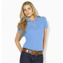 Ralph Lauren Women's Skinny Fit Cotton Mesh Polo Shirt Blue