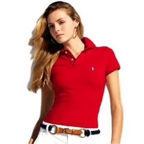 Ralph Lauren Women's Skinny Fit Cotton Mesh Polo ShirtRed