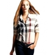 Burberry Women's  Brit Tonal  Check  Shirt Carmel