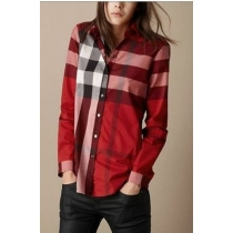 Burberry Women's Brit Tonal  Check  Shirt Red