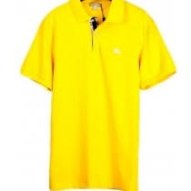Burberry Men's Placket Piqué Cotton Polo Shirt Yellow