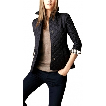 Burberry Women's  Quilted Button Trench Jacket Black